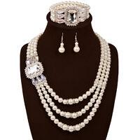 Women Multi Layers Crystal Pearl Necklace Set Choker Bib Wedding Jewelry sets