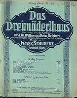""""""" Das Dreimäderlhaus """" großes Potpourri von B. Bersa alte Noten übergroß"""