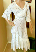 H&M Romantic White Small Black Polka Dot Midi Ruffle Faux Wrap Dress sz 10 NWOT