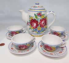 Vtg Czekoslovakia Hand Made Pottery Tea Set Coffee Pot 4 Cups Saucers Czech Mark