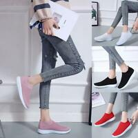 Women's Breathable Slip On Flat Shoes Mesh Sneakers Sports Comfy Trainers P6E6