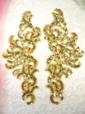 "Sequin Appliques Gold w/ Beaded edge Dance Costume Motif Mirror Pair 11"" (0515)"