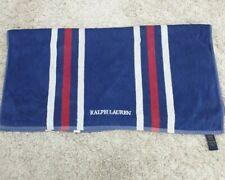 "RALPH LAUREN beach Bath towel blue striped 34"" x 65"" RL embroidered logo"