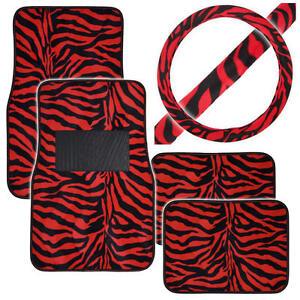 Animal Print Front Rear Car Floor Mats & Steering Wheel Cover Set - Red Zebra