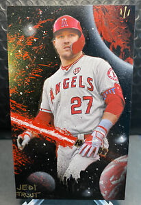 Mike Trout 2020 Topps Archives Box Topper Custom Hand Painted 1/1 by FuSSArt
