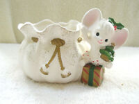 Vintage NAPCOWARE Mouse XMAS Planter  Japan Tree Gift Holly