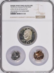 1972-S Proof Ike $1 Mated Pair on 1C Plan & 10C Plan NGC PF 67 UNIQUE DISCOVERY