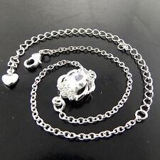 ANKLET BRACELET GENUINE 925 STERLING SILVER S/F DIAMOND SIMULATED ANTIQUE DESIGN