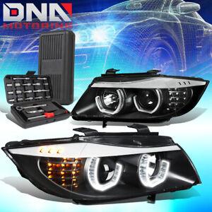 FOR 2009-2012 BMW E90 3-SERIES 3D U-HALO LED HEADLIGHT HEAD LAMPS+TOOLS BLACK