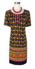 LEONA EDMISTON Dress - Geometric Print Black Pink Orange Green Buttons - XXS/6