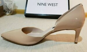 """NINE WEST WOMEN'S SHOES PUMPS PATENT LEATHER TAUPE/NUDE 8.5 M 2"""" KITTEN HEEL"""