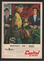 1952 Capital Airlines Ticket Counter Travel Agent WOW Monet Illustrated ART Ad