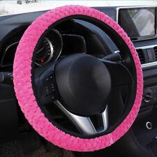 PINK Soft Elastic Winter Warm Plush Steering Wheel Cover Auto Car Accessory US