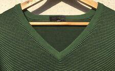 John Smedley 100% merino wool green and black stripey V neck jumper in Large.