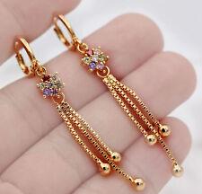 18K Gold Filled- 2.2'' Tassels Chain Flower Ruby Amethyst Topaz Gems Earrings L8