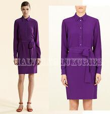 $1,150 GUCCI SHIRT DRESS PURPLE VIOLET CREPE DE CHINE LONG SLEEVES IT 42 US 6