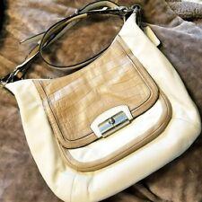 Coach Kristin Spectator Leather Hobo Bag F22509 Beige Ivory Croc Leather Purse