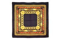 CHANEL Large Format Scarf 100% Silk Coco Mark Chain Print Black 2829k