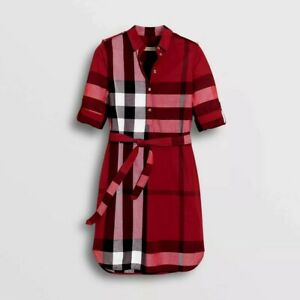 BURBERRY KELSY PARADE RED CHECK COTTON DRESS