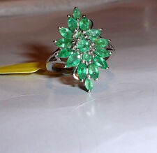 AFRICAN GREEN EMERALD PEAR COCKTAIL RING, NICKEL FREE SILVER, SIZE 7, 2.51(TCW)