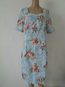 Joe Browns Blue Floral Mix Tea Party Dress Short Sleeves Stretchy Zip UK Size 16