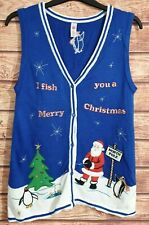 VTG Christmas Jumper/Cardigan/Waistcoat SANTA CLAUS Blue RARE Size UK-10