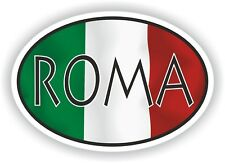Roma OVAL WITH ITALIAN FLAG STICKER ITALY ITALIA AUTO MOTO TRUCK LAPTOP