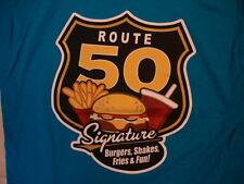 Route 50 Signature Burgers Shakes Fries Souvenir Blue T Shirt XL