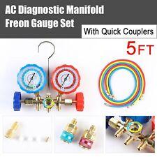HVAC R134A R12 R22 R502 Diagnostic Manifold Gauge Set ACME Adapter &5FT Hoses