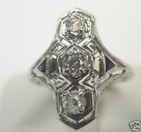 Antique European Diamond Engagement Ring Size 6 18K White Gold EGL USA Art Deco