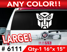 """TRANSFORMERS AUTOBOT LARGE DECAL STICKER 16""""w x15""""h  Any 1 Color"""