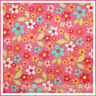 BonEful Fabric FQ Cotton Quilt Pink Blue White Yellow Flower Dot Green Leaf Girl