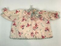 Vintage Doll Clothes Pajama Top Flannel Clown Print Pink Ruffle Shirt Clothing