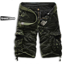 Mens Shorts Camo Cargo Pants Camouflage Military Army Combat Summer Trousers 36