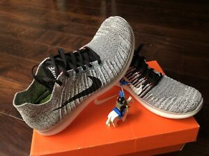 Nike Free Rn Flyknit Wolf Grey White New Running Shoes DS 831069-002 Size 10