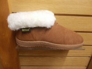 OLD FRIEND WOMEN'S WIDE  BOOTIE SLIPPER SIZES 6 TO 11 BROWN WITH ROLL UP COLLAR