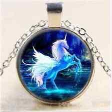 blue Moonlight unicorn photo Cabochon Glass Tibet silver Chain Pendant Necklace