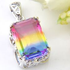 Wedding Gift Rectangle Bi-Color Tourmaline Silver Pendant Necklace With Chain