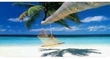 HAMMOCK HANGING FROM PALM TREE BEACH OCEAN METAL NOVELTY LICENSE PLATE TAG