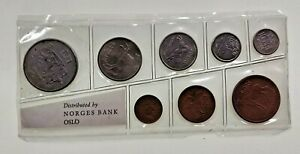 NORWAY 8 COIN MINT SET MINTAGE OF 1800