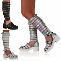 NEW GLADIATOR WOMENS STRAPPY CHUNKY HEEL HIGH LEG BOOTS SANDALS SHOES SIZE 3-
