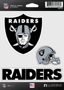 Oakland Raiders Triple Spirit Stickers 3 Decals Auto Tumbler Laptop Cut to Shape