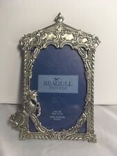 "Vintage 1987 Seagull Pewter Ornate Oval Picture Frame 4"" x 6"" Unicorn baby"