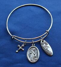 St. Francis of Assisi Saint Medal Wire Bangle Bracelet