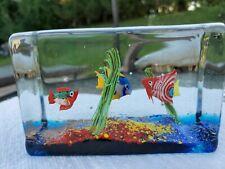 Murano Glass Block Aquarium Fish Sea Plants Cenedese Licata Barbini Aventurine