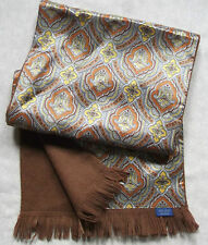 VINTAGE WOOL LINED MENS SCARF 1970s 1980s SILVER GOLD BROWN PATTERNED RETRO MOD