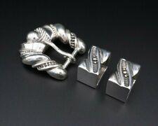 """Men's Signed JM Sterling Silver 3D Textured Ranger Buckle 0.75"""" Belt 3pc M768"""