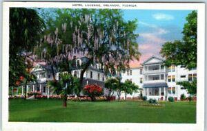 Orlando, Florida Postcard HOTEL LUCERNE Building Front View Kropp Linen c1930s