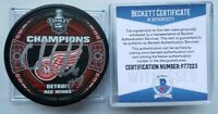 BECKETT COA CHRIS CHELIOS HOF SIGNED STANLEY CUP DETROIT RED WINGS CHAMPS PUCK