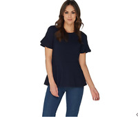 Isaac Mizrahi Live! Small Dark Navy Knit Peplum Top with Short Ruffle Sleeve